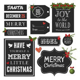 Στοιχεία σχεδίου Χριστουγέννων πινάκων κιμωλίας Στοκ φωτογραφία με δικαίωμα ελεύθερης χρήσης