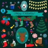 στοιχεία σχεδίου Χριστουγέννων που τίθενται Στοκ Εικόνα