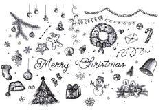 στοιχεία σχεδίου Χριστουγέννων που τίθενται στοκ εικόνες