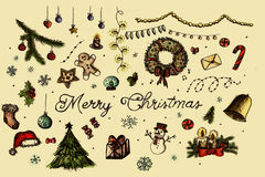 στοιχεία σχεδίου Χριστουγέννων που τίθενται Στοκ φωτογραφίες με δικαίωμα ελεύθερης χρήσης