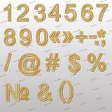 Στοιχεία σχεδίου - χρυσή πηγή, σημάδια και σύμβολα καλωδίων τρισδιάστατη Στοκ Φωτογραφίες