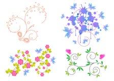 στοιχεία τέσσερα σχεδίου ανασκόπησης snowflakes λευκό ελεύθερη απεικόνιση δικαιώματος