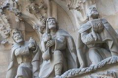 Στοιχεία της αρχιτεκτονικής και αγάλματα της εισόδου στο παλαιό μέρος Sagrada Familia Στοκ εικόνες με δικαίωμα ελεύθερης χρήσης