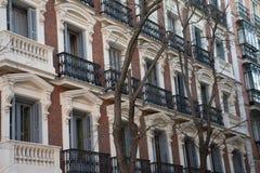Στοιχεία της αρχιτεκτονικής Ντεκόρ των κτηρίων στο κέντρο της Μαδρίτης, Ισπανία Υπόβαθρο Στοκ Εικόνα