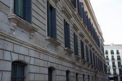 Στοιχεία της αρχιτεκτονικής Ντεκόρ των κτηρίων στο κέντρο της Μαδρίτης, Ισπανία Υπόβαθρο Στοκ φωτογραφία με δικαίωμα ελεύθερης χρήσης