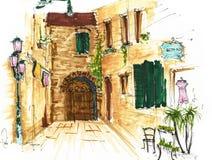 Στοιχεία της Βενετίας, Ιταλία Χρωματισμένο σκίτσο, εργασία τέχνης Στοκ εικόνες με δικαίωμα ελεύθερης χρήσης
