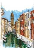 Στοιχεία της Βενετίας, Ιταλία Χρωματισμένο σκίτσο, εργασία τέχνης Στοκ φωτογραφία με δικαίωμα ελεύθερης χρήσης