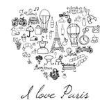 Στοιχεία του Παρισιού doodles Συρμένα χέρι λουλούδια και ποδήλατο καφέδων συνόλου withefel αναπαραγμένα πύργος Ο σχεδιασμός doodl Στοκ Εικόνες