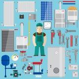Στοιχεία υδραυλικών και θέρμανσης Εξοπλισμός θέρμανσης διανυσματική απεικόνιση