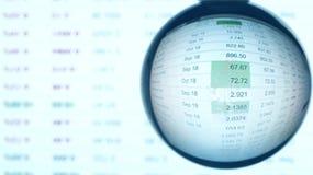 Στοιχεία χρηματιστηρίου όπως βλέπει σκεπτόμενος στη σφαίρα γυαλιού Η χρηματοοικονομική αγορά πρόβλεψε τον εννοιολογικό πυροβολισμ Στοκ φωτογραφία με δικαίωμα ελεύθερης χρήσης