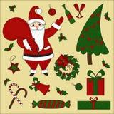 Στοιχεία Χριστουγέννων και σύνολο Santa νέο έτος ελεύθερη απεικόνιση δικαιώματος