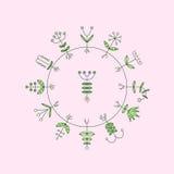 Στοιχεία χλωρίδας πράσινο απομονωμένο λευκό κεριών σημαδιών μορφής σφραγίδων φύλλων eco επίσης corel σύρετε το διάνυσμα απεικόνισ Στοκ Εικόνες