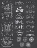 Στοιχεία δύο σχεδίου αγάπης πινάκων κιμωλίας Διανυσματική απεικόνιση