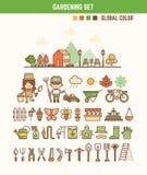 Στοιχεία Infographic για τα παιδιά για την κηπουρική ελεύθερη απεικόνιση δικαιώματος