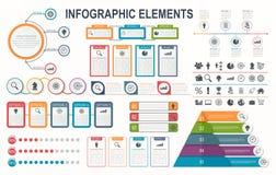 Στοιχεία Infographic, διάγραμμα, σχεδιάγραμμα ροής της δουλειάς, επιλογές επιχειρησιακών βημάτων Στοκ Εικόνες