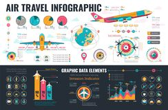 Στοιχεία Infographics αεροπορικού ταξιδιού Στοκ Φωτογραφίες