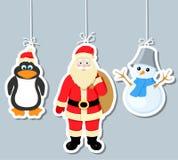 Στοιχεία, penguin, Άγιος Βασίλης Χριστουγέννων και snowm Στοκ φωτογραφία με δικαίωμα ελεύθερης χρήσης