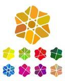 Στοιχείο λογότυπων λουλουδιών σχεδίου. Ζωηρόχρωμη περίληψη patt Στοκ εικόνες με δικαίωμα ελεύθερης χρήσης