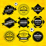 Στοιχείο σχεδίου διακριτικών τυπογραφίας ποδοσφαίρου ποδοσφαίρου Στοκ Φωτογραφίες