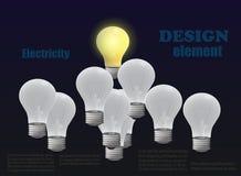 Στοιχείο σχεδίου με τις λάμπες φωτός απεικόνιση αποθεμάτων