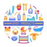 Στοιχείο σχεδίου μωρών με τα διαφορετικά προϊόντα Στοκ Φωτογραφία