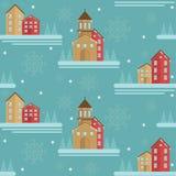 Στοιχείο χειμερινών άνευ ραφής σχεδίων με τα σπίτια, τις ερυθρελάτες και snowflakes πρόσκληση συγχαρητηρίων καρτών ανασκόπησης Στοκ φωτογραφία με δικαίωμα ελεύθερης χρήσης