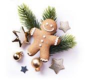 Στοιχείο Χριστουγέννων στο άσπρο υπόβαθρο  τοπ άποψη στοκ εικόνες