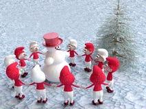 Στοιχειά και χιονάνθρωπος που χορεύουν κοντά στο δέντρο πεύκων απεικόνιση αποθεμάτων
