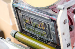 Στοιχειοθετημένη μηχανή εκτύπωσης φραγμών έτοιμη για την εκτύπωση Στοκ Φωτογραφία