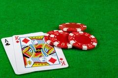 Στοιχηματίζοντας τσιπ και blackjack χέρι Στοκ Εικόνα