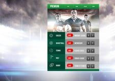 Στοιχηματίζοντας App στάδιο ράγκμπι διεπαφών Στοκ Εικόνα