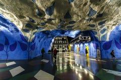 ΣΤΟΚΧΟΛΜΗ, ΣΟΥΗΔΙΑ - 22$ος του Μαΐου του 2014 Υπόγειος σταθμός τ-Centralen μετρό της Στοκχόλμης - ένας από τον ομορφότερο σταθμό  Στοκ φωτογραφία με δικαίωμα ελεύθερης χρήσης