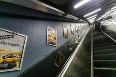 ΣΤΟΚΧΟΛΜΗ, ΣΟΥΗΔΙΑ - 22$ος του Μαΐου του 2014 Υπόγειος σταθμός τ-Centralen μετρό της Στοκχόλμης - ένας από τον ομορφότερο σταθμό  Στοκ Φωτογραφίες