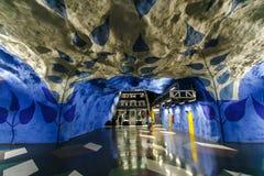 ΣΤΟΚΧΟΛΜΗ, ΣΟΥΗΔΙΑ - 22$ος του Μαΐου του 2014 Υπόγειος σταθμός τ-Centralen μετρό της Στοκχόλμης - ένας από τον ομορφότερο σταθμό  Στοκ εικόνα με δικαίωμα ελεύθερης χρήσης