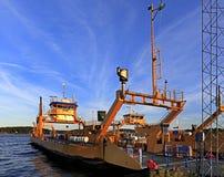 Στοκχόλμη, νησί Vaxholm, Σουηδία - αποβάθρα πορθμείων στο λιμένα Vaxhol Στοκ φωτογραφία με δικαίωμα ελεύθερης χρήσης