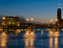 Στοκχόλμη τη νύχτα στοκ εικόνα