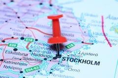 Στοκχόλμη που καρφώνεται σε έναν χάρτη της Ευρώπης Στοκ Εικόνες