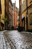 Στοκχόλμη, Σουηδία, μόνος τουρίστας Α στην οδό Στοκ Φωτογραφία