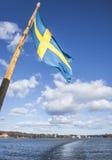 Στοκχόλμη, Σουηδία  Σουηδική σημαία Στοκ Φωτογραφία