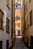 Στοκχόλμη, Σουηδία, στενές οδοί της παλαιάς πόλης Στοκ Εικόνες