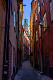Στοκχόλμη, Σουηδία, στενή οδός της παλαιάς πόλης Στοκ εικόνα με δικαίωμα ελεύθερης χρήσης