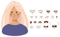 Στοματικό σύνολο θηλυκού χαρακτήρα κινουμένων σχεδίων στο επίπεδο σχέδιο, διανυσματική απεικόνιση που απομονώνεται στο άσπρο υπόβ διανυσματική απεικόνιση