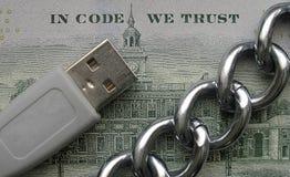Στον κώδικα εμπιστευόμαστε crypto Blockchain την αρχή τεχνολογίας στοκ φωτογραφία με δικαίωμα ελεύθερης χρήσης