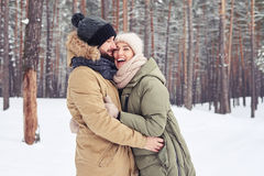 Στοργικό ζεύγος που απολαμβάνει ξοδεύοντας το χρόνο μαζί σε ένα χιονώδες φ Στοκ Εικόνες