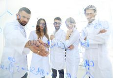 Στους εργαστηριακούς επιστήμονες ομάδας εικόνας υποβάθρου που συζητούν την έρευνά τους Στοκ φωτογραφία με δικαίωμα ελεύθερης χρήσης
