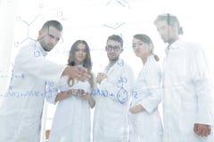 Στους εργαστηριακούς επιστήμονες ομάδας εικόνας υποβάθρου που συζητούν την έρευνά τους Στοκ Φωτογραφία