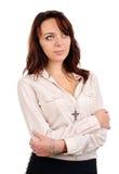 Στοχαστική ελκυστική νέα γυναίκα Στοκ φωτογραφία με δικαίωμα ελεύθερης χρήσης