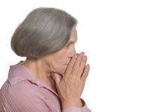 Στοχαστική ηλικιωμένη γυναίκα Στοκ Φωτογραφία