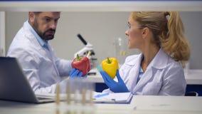 Στοχαστικός αρσενικός επιστήμονας που βοηθά το συνάδελφο στο εργαστήριο απόθεμα βίντεο