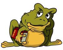 Στοχαστικός βάτραχος με το βιβλίο Στοκ εικόνα με δικαίωμα ελεύθερης χρήσης